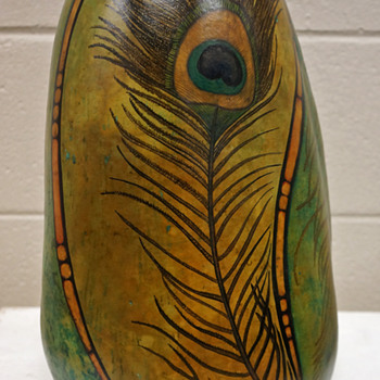 Large Folk Art Gourd w/ Painted Art Nouveau Motif - Martha Danek (2014)
