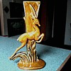 Royal Haeger Leaping Gazelle Vase R-706 / Gold and Green / Circa 1940's- 50's