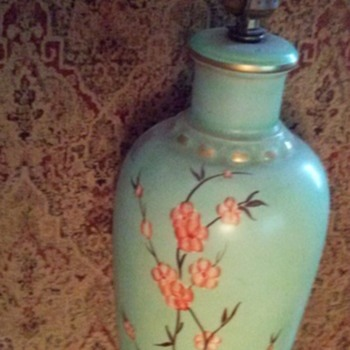 Original Art Deco Lamp Hand Painted Signed VRAI