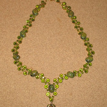 Remarkable Schreiner Inverted Rhinestone Green Glass Necklace - Costume Jewelry
