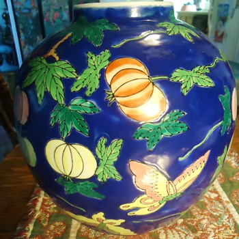 PUMPKIN VASE FROM?? Me 10 yr. old pumpkin salesman and son contest winner 5 times giant pumpkins!! - Art Pottery