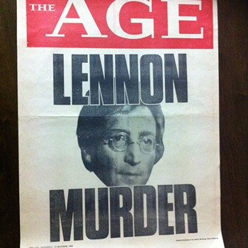 Lennon news poster-1980 - Music