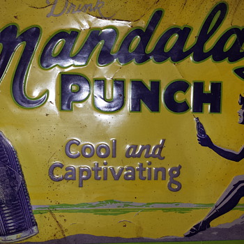 Mandalay Punch tin sign; 1928.