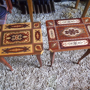 Antique Italian Made Inlaid Wood Music Tables