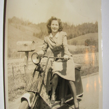 Vintage 5 x 7 Original Photo of Pretty Lady on a Scooter