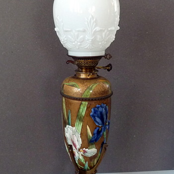 My French Champleve oil lamp
