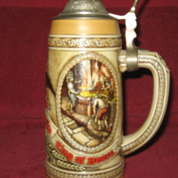 B series numbered rare Budweiser lidded stein - Breweriana