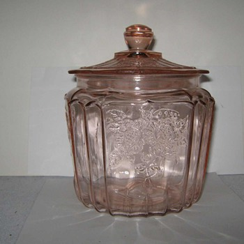 PINK DEPRESSION ANCHOR HOCKING MAYFAIR OPEN ROSE COOKIE JAR ...