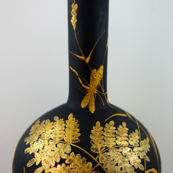 Harrach Black Hyalith Enameled & Gilt Glass Vase, ca. 1887