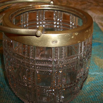 Crystal ice bucket Brass?? Signed NS with Hallmark  #340895 - Art Deco