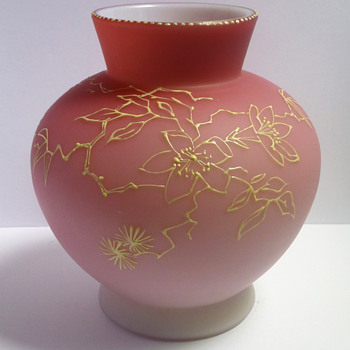 Bohemian Pink to White Cased Vase with Gold Enameling - Art Glass