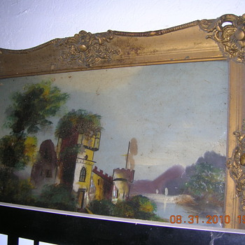 PAINTING ON GLASS, PLASTER PARIS FRAME ? - Folk Art