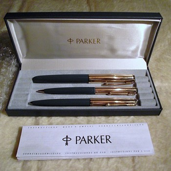parker 51 trio set-12ct rolled gold in box-with instructions
