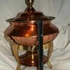 Vintage HUGE Copper ~Hammered~ Baine Marie/Chafing Dish, Lid & Liner W/ Brass Stand & Burner