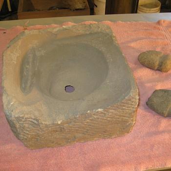 Archaic stone deep groved axe grinding stone ,arrowhead abrader - Native American