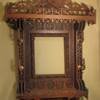 Ornate Tramp/Folk Art Frame w/ Coat Hooks