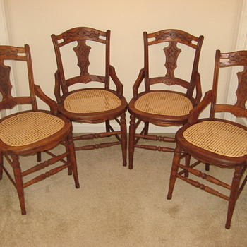 Set of 4 American wood and caned chairs that I just refinished and re-caned - Furniture