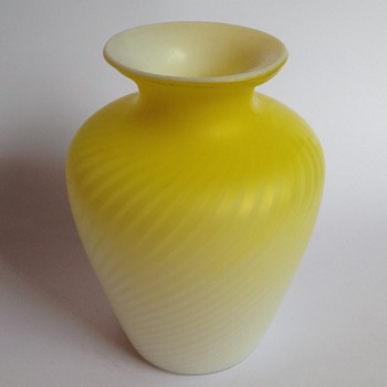 Victorian yellow swirl air trap pattern satin glass vase - Art Glass