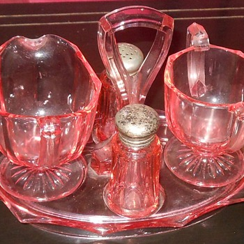 Pink Depression Glass Caddy Cream and Sugar and Salt and Pepper