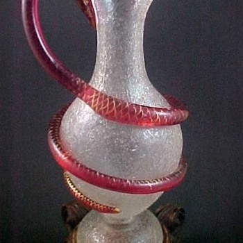 1865 Antique Rococo Bohemian HARRACH Crackle Art Glass Pitcher w/ Coiled Snake