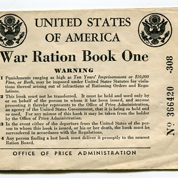 WWII USA Ration Booklets…... - Military and Wartime