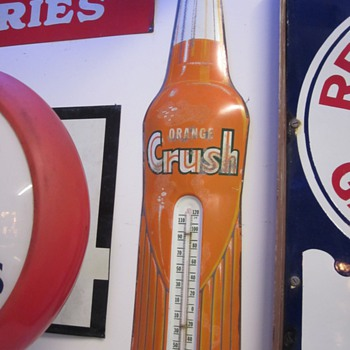 Vintage Thermometers, Orange Crush, Red Seal Battery, Rislone, and Royal Crown Cola. - Advertising