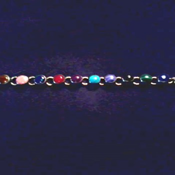 Vintage Silver and Semi-Precious 10 Stone Toggle Clasp Bracelet / Circa 20th Century