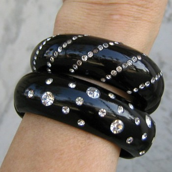1950&#039;s black clamper bracelets w/white rhinestones - Costume Jewelry