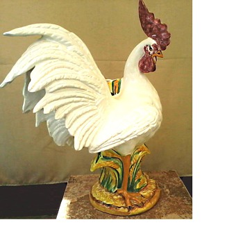 "Intrada Italy Campagna Collection / Ceramic 23"" White Rooster Cache Pot/ 20th Century - Figurines"