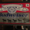 Budweiser bar / pub light revolving clydedale and carriage wheels.