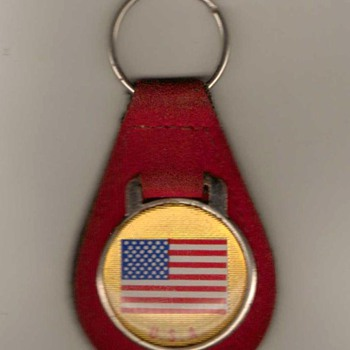 1970's - U.S. Flag Keyfob with Ring - Red