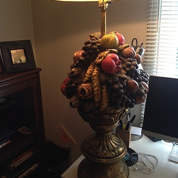 Found cool vintage ceramic fruit lamp in my attic
