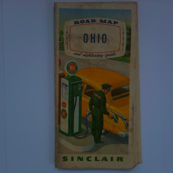 Early 1950&#039;s Sinclair Road Map &amp; Sightseeing Guide