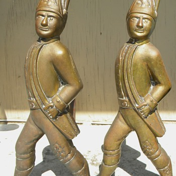 19th C Military Hessian Soldier Lg Andirons Solid Bronze