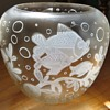 Old Cameo-type Vase w/ Contemporary style Fish Images,~1950's`60's?~any guess on the maker??