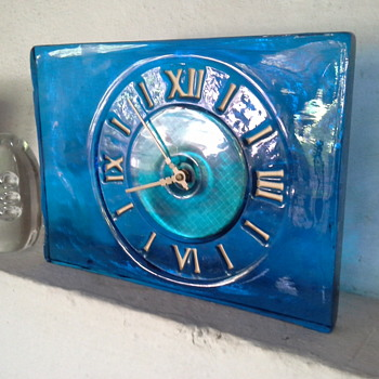 Solid blue glass clock