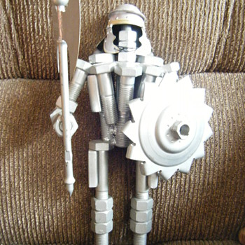 VINTAGE METAL WARRIOR/GLADIATOR(16 INCHES tall) made out of car parts and screws