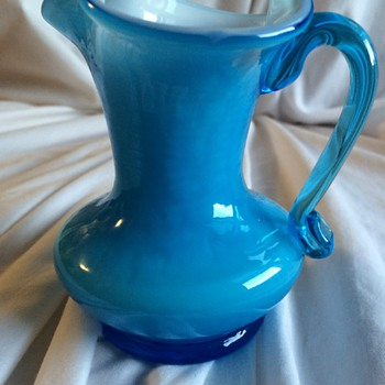 Blue Glass Pitcher - Art Glass