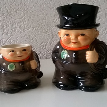 For $1.00~!! 1972 Goebel West Germany Irish Chimney Sweep Toby Jug & Sugar Pot  - Art Pottery