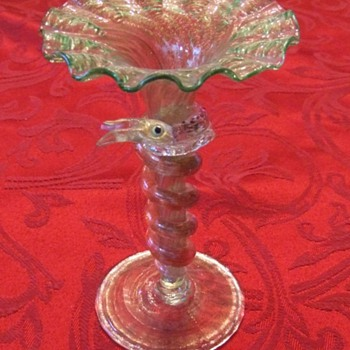 Venetian Art Glass Serpent Bud Vase - Art Glass