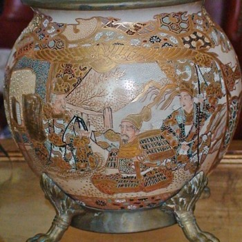 Satsuma Pottery Bowl Lamp Base Circa 1890