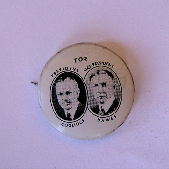 Coolidge Dawes Political Jugate Pinback Button 1924 - Advertising