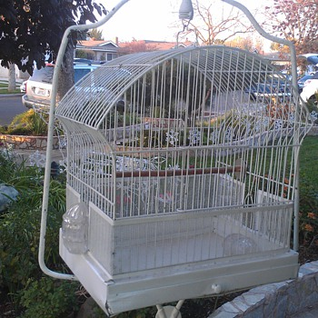 antique  bird cage and stand