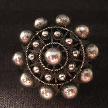 Sterling Silver Round Dome Beaded Pin Brooch