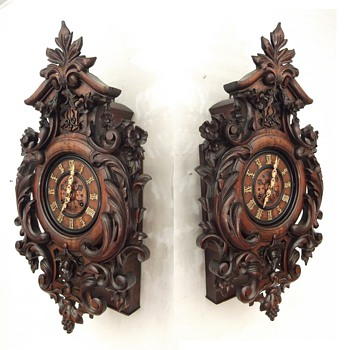 FANTASTIC carved Johann Baptiste Beha wall clock (with twin fusee) 1-off exhibition clock 1861 - Clocks