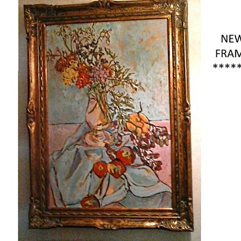 "New Frame For My ""Rita Schuenemann"" Oil On Canvas/ ""Mums With Fruit"" 24""x 36""/ Circa 1985 - Visual Art"