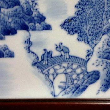 Chinese Blue & White Landscape Tile - Art Pottery