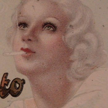 Aparto Turmac Cigarette Tin With Jean Harlow Look-Alike 1930s - Tobacciana