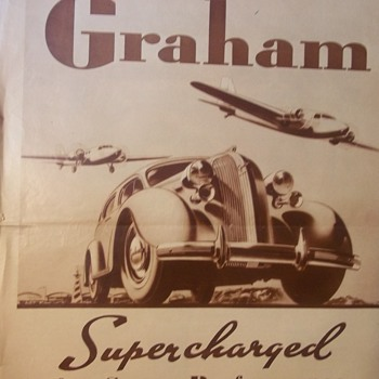 GRAHAM CAR 1938 Ad Poster My Dad Had.