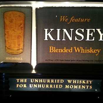 Kinsey Blended Whiskey Lit Glass & Steel Sign